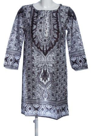 Ealey Fushi Langarmkleid schwarz-weiß abstraktes Muster Casual-Look