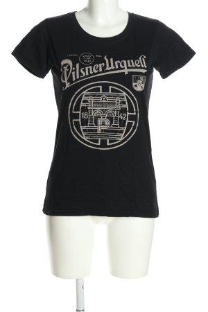 earth positive T-Shirt schwarz-creme Motivdruck Casual-Look