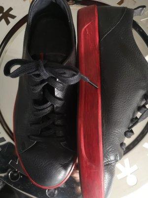 Ecco Basket à lacet noir-rouge cuir