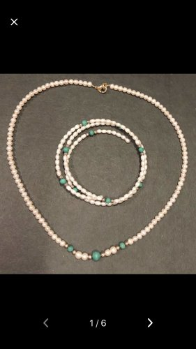 Pearl Necklace silver-colored-green
