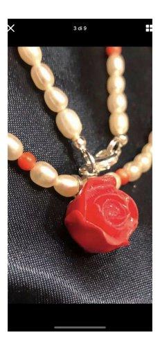 Echt biba Perlen Korallen Halskette 925 Silber