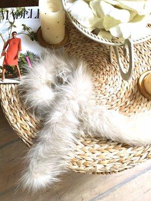 Sciarpa con cappuccio bianco-grigio chiaro