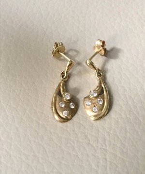 Echt Gold 333 Ohrringe Hänger mit kleinen Steinen verziert