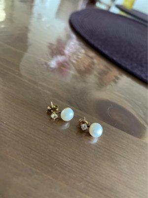 Echt Goldfarbene Perlenohrringe