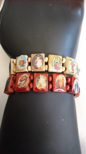 Echt Holz 2 Armbänder mit 12 Miniatur Heiligenbilder elastisch.
