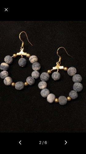 Echt Korallen Silber vergoldet Ohrringe neu