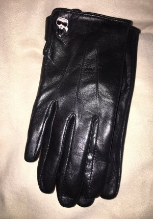 Karl Lagerfeld Leather Gloves black leather