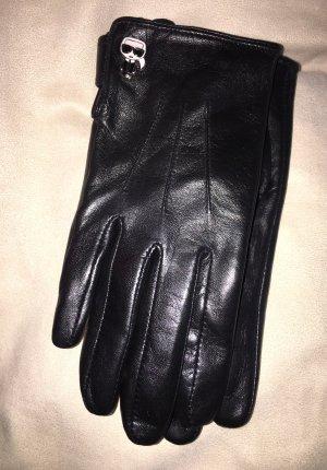 Karl Lagerfeld Guantes de cuero negro Cuero