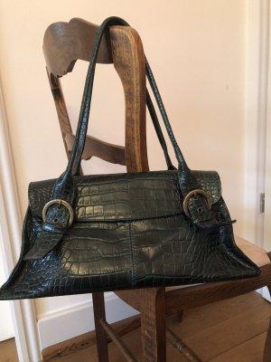 Echt-Leder-Handtasche im Kroko-Print in grün