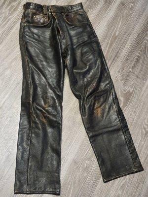 markenlos Pantalón de cuero marrón oscuro