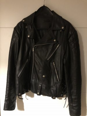 Echt Leder Jacke Lederjacke Gr.42 schwarz