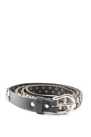 ECHT LEDER Studded Belt black-silver-colored casual look