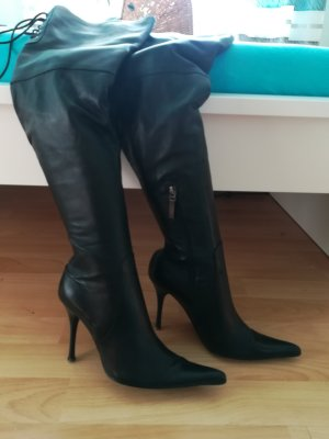 Overknees black leather