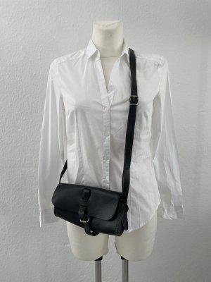 Echt Leder schwarz Tasche Umhänge Vintage