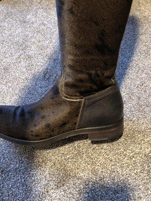 Fatto a Mano Futrzane buty ciemnobrązowy Skóra