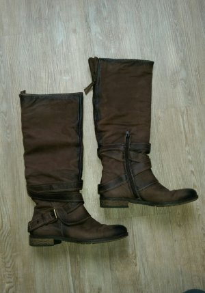 Echt Leder Stiefel Empodium 38 braun schwarz Schnalle