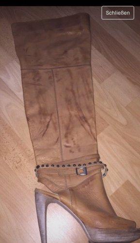 Echt Leder Stiefel gr.41 Beige /braun