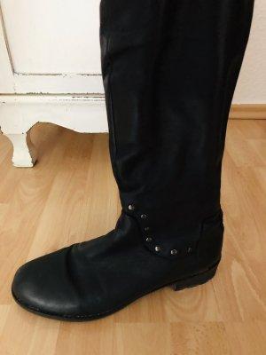 Echt Leder Stiefel mit Nieten und rotem Reißverschluss