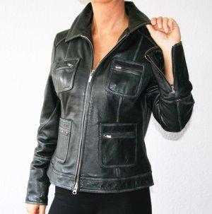 Leonardo Veste motard noir-argenté cuir