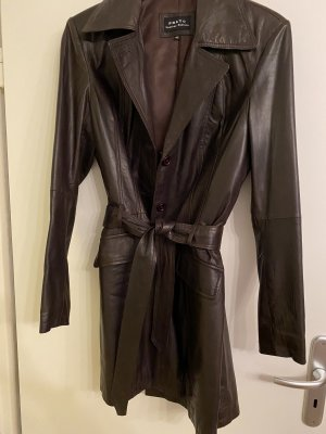 Prato Leather Coat dark brown leather