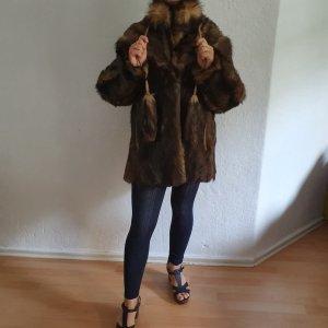 Giacca in pelliccia marrone chiaro-marrone