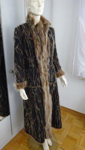 Futrzany płaszcz czarno-brązowy Futro