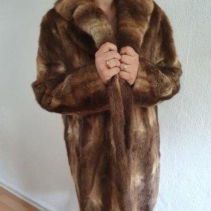 Manteau de fourrure marron clair-beige