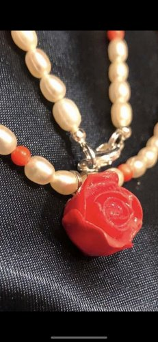 Echt Perlen Korallen Mischung echt Silber 925 Halskette 47 cm