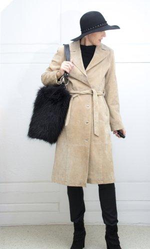 Manteau en cuir crème cuir