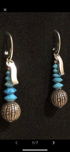 Boucles d'oreilles en argent argenté-bleu