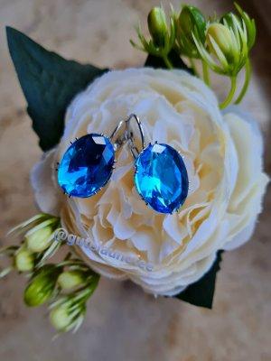 echt Silber 925 Boucles d'oreilles en argent argenté-bleuet