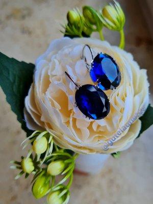 echt Silber 925 Boucles d'oreilles en argent argenté-bleu