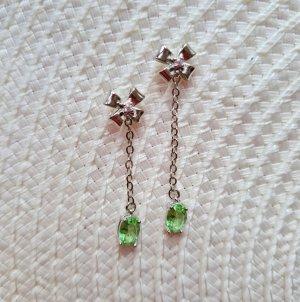 echt Silber 925 Boucles d'oreilles en argent argenté-vert gazon