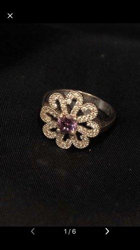 Anello d'argento argento-lilla