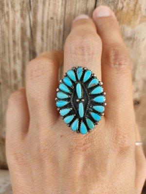 Echt-silber Ring mit Türkisen Zuni Indianer Schmuck Ethno vintage 925 Sterling Silber