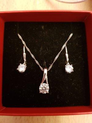 Echt Silber Schmuck mit Zirkonia Diamant Steinchen