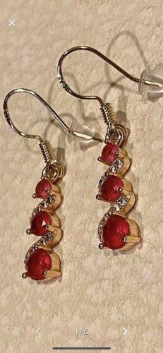 Dangle silver-colored-brick red