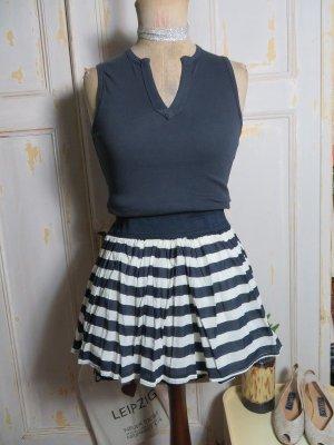 Atmosphere Falda de talle alto azul oscuro-blanco Algodón