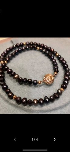 Pearl Necklace gold-colored-black