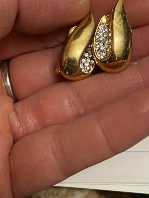 Echt vergoldete Ohrclipse neu zirkonia Steine Np 40€