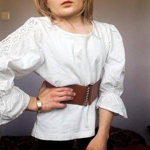 Echt Vintage Bluse mit asymmetrischen Puffärmeln Spitzendetails