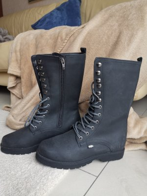 Buffalo Winter Boots black-silver-colored leather