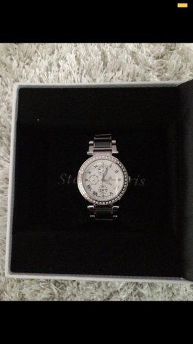 Zegarek analogowy srebrny-biały