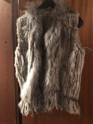Smanicato di pelliccia grigio-grigio chiaro Pelliccia