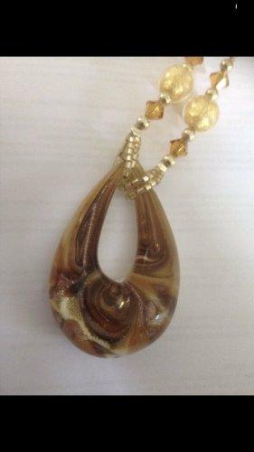 Echte Muranoglaskette goldgelborange