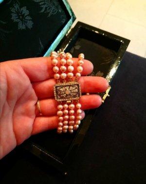 Echte Perlen Armband 3 reihig VINTAGE mit 835 Silberverschluss