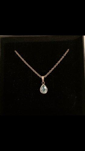 Echte Silberkette mit hellblauem Stein