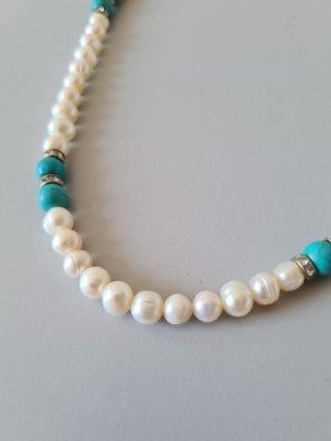 Vintage Naszyjnik z perłami biały-turkusowy