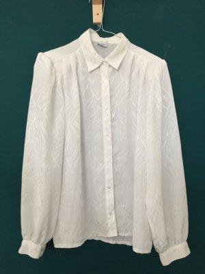 echte Vintagebluse 80s Oversize weiß glänzend Schulterpolster
