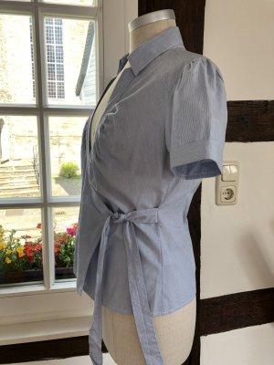 H&M Blusa cruzada azul celeste-azul acero Algodón